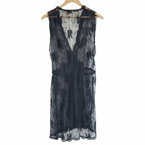 Aritzia Wilfred sheer lace wrap dress black large